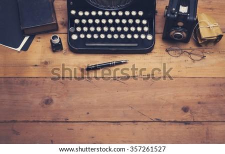 retro typewriter hero header - stock photo