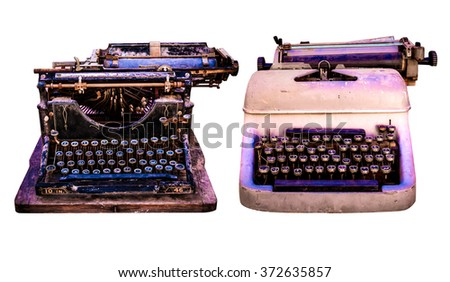 Retro typewriter isolated, Old English and arabic vintage type writers , still life on a white background photo collection - stock photo
