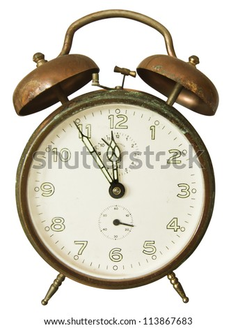 Retro vintage alarm clock isolated on white background. Clipping path included - stock photo