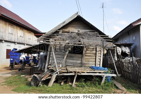 Retro Vintage Old House Thailand Style Country - stock photo