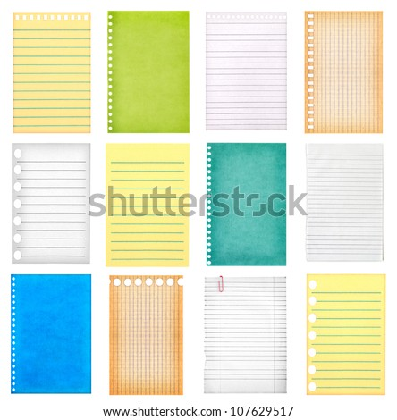 retro vintage pages ripped off from the notebook collection isolated on white - stock photo
