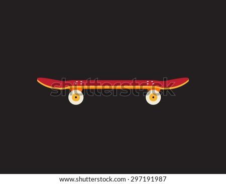 Retro vintage skateboard icon isolated on dark background - stock photo