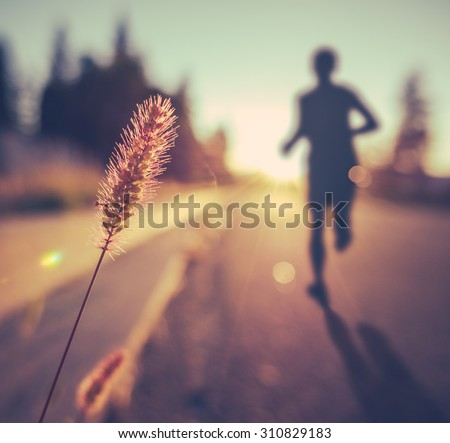 Retro Vintage Soft Healthy Fitness Runner At Sunset - stock photo