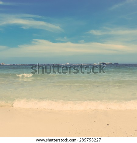 Retro vintage style of  summer beach sea view with wave - stock photo