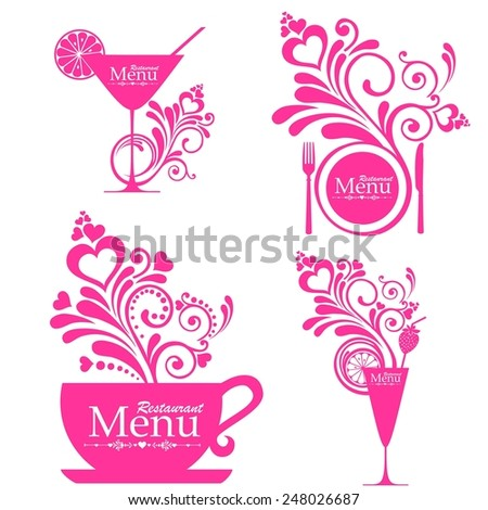 Retro vintage style restaurant menu designs. Sets of label design. Menu for restaurant, cafe, bar, coffeehouse. Design elements isolated on White background.  illustration  - stock photo