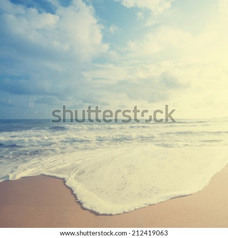 Retro vintage style summer beach sea view with wave, Malaysia - stock photo