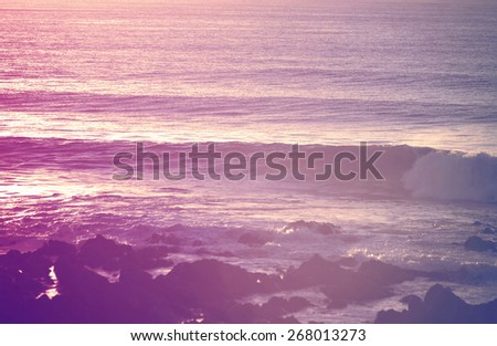 Retro vintage summer surfing shorebreak at sunrise. Chill out moment concept photography. - stock photo