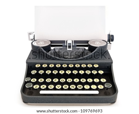Retro vintage typewriter front view with paper, room for text or copy space on a white background. - stock photo
