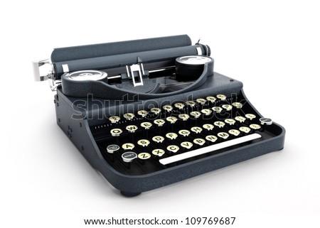 Retro vintage typewriter side view on a white background - stock photo