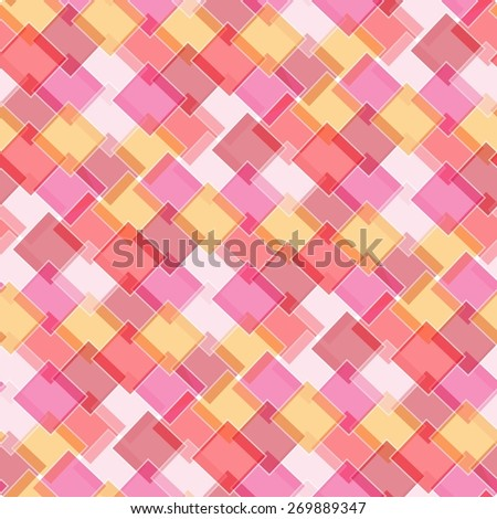 Retro vivid seamless square background with hot color elements - stock photo