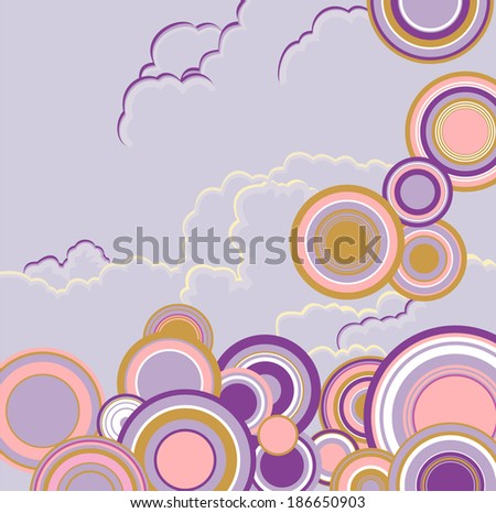 Retro wallpaper with circles with place for text  - stock photo