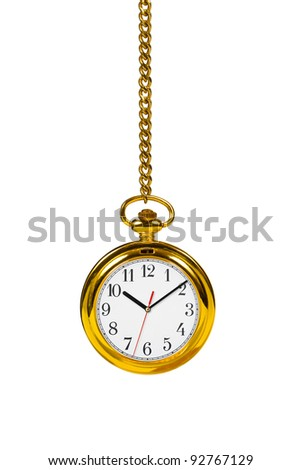 Retro watch and chain isolated on white background - stock photo