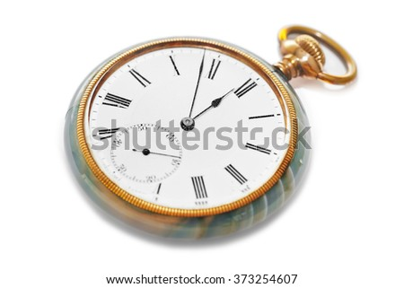 Retro watch isolated on white background - stock photo