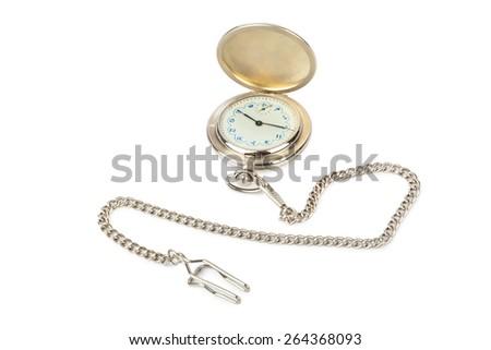 Retro watch with horoscope isolated on white background - stock photo
