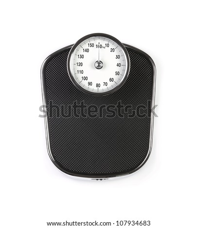 Retro weight scale isolated on white background - stock photo
