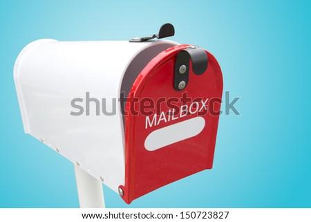 retro white mailbox - stock photo