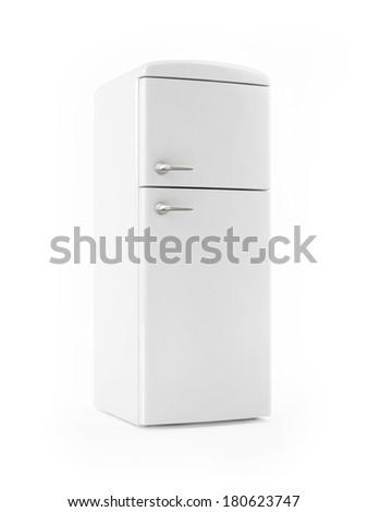 Retro White Refrigerator on White background - stock photo