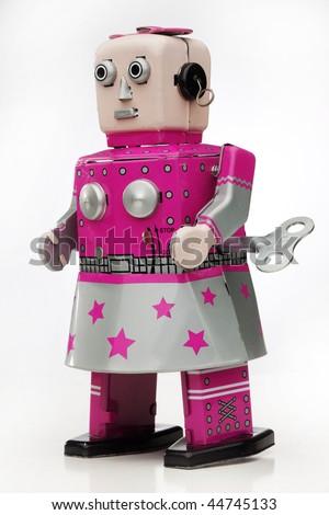 retro wind-up girl robot - stock photo