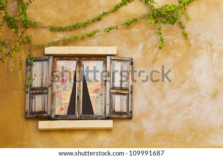 Retro window and wall - stock photo