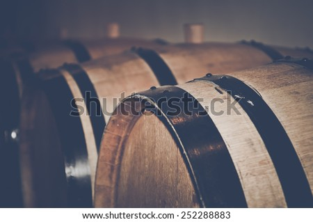 Retro Wine Barrels with Vintage Film Style Filter - stock photo