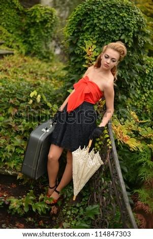 retro woman - stock photo