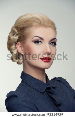 Retro woman in grey dress. - stock photo