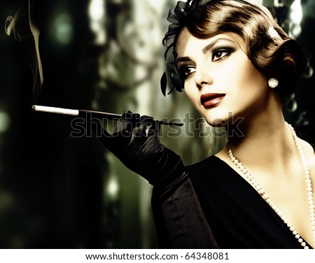 Retro Woman Portrait - stock photo