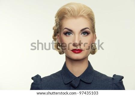 Retro woman portrait. - stock photo