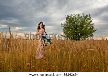Retro woman standing with an accordion, in a field of tall grass. - stock photo