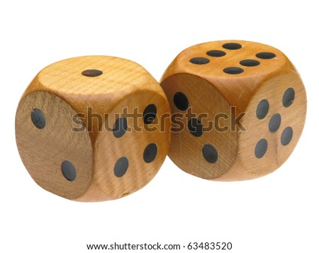 Retro wooden dice (6 and 1) - stock photo