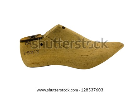 retro wooden shoes produce make mold mould form shape used by cobblers isolated on white - stock photo