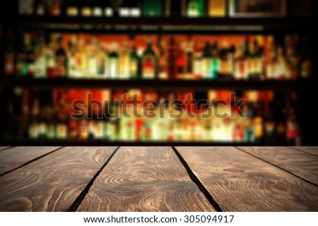 retro wooden table in bar  - stock photo