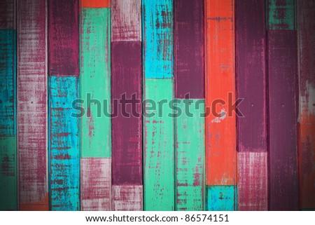 retro wooden wall. - stock photo