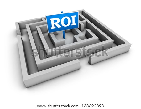 Return on investment business concept with labyrinth and blue roi sign on white background. - stock photo
