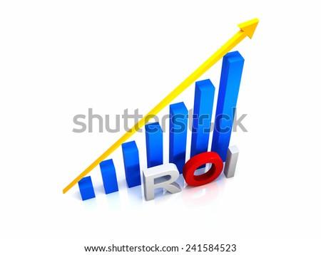 Return on investment chart, 3d render - stock photo