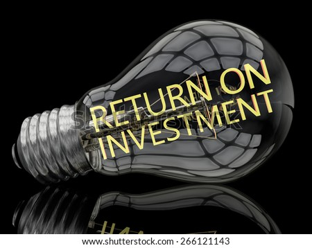 Return on Investment - lightbulb on black background with text in it. 3d render illustration. - stock photo