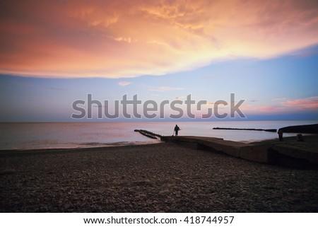Returning from fishing - stock photo