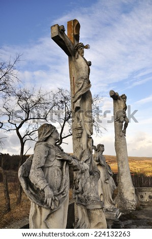 RETZ, AUSTRIA - DECEMBER 7, 2013: The end way of the Cross (two  crosses). December 7, 2013 in Austria - stock photo