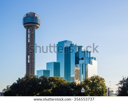Reunion Tower is a observation tower and one of the most recognizable landmarks in Dallas, Texas. - stock photo