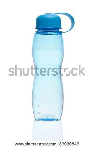 Reusable blue water bottle isolated on a white background - stock photo