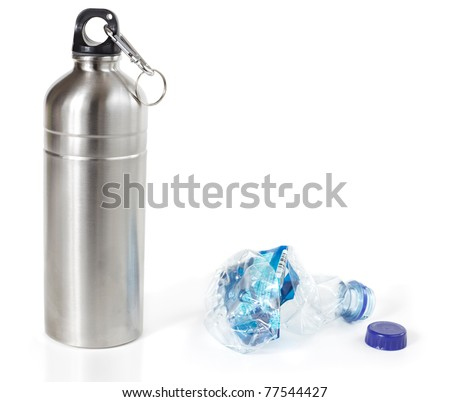 Reusable water bottle in place of disposable plastic water bottle, isolated - stock photo