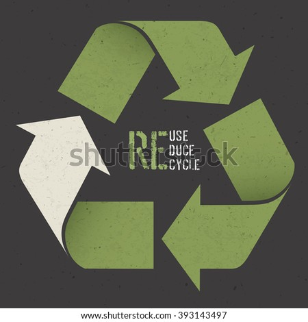 """Reuse conceptual symbol and """"Reuse, Reduce, Recycle"""" text on Dark Recycled Paper Texture. Raster version - stock photo"""