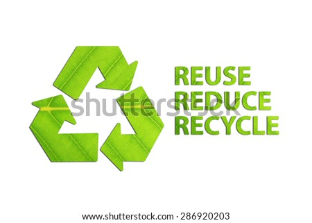 Reuse, Reduce, Recycle concept made from green leaves. - stock photo