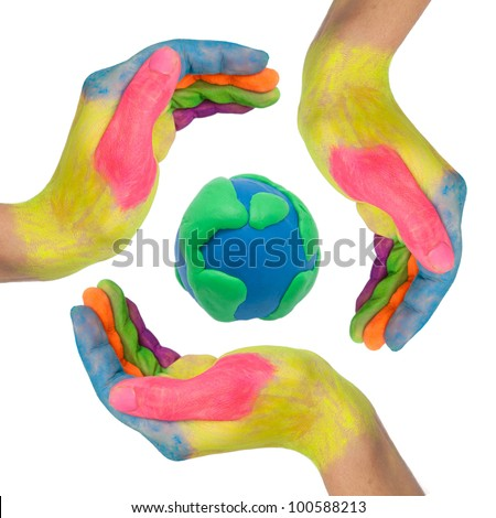 Reuse, reduce, recycle. Conceptual symbol of colorful hands making a circle around earth globe made from clay as logo. Isolated on white background with clipping path - stock photo