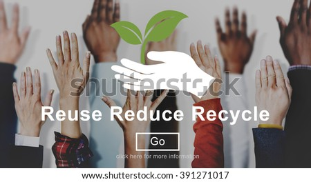 Reuse Reduce Recycle Eco Friendly Concept - stock photo