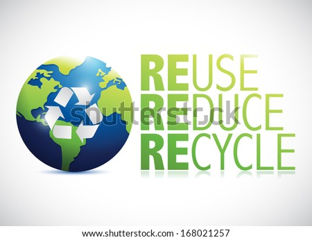 reuse reduce recycle globe illustration design over a white background - stock photo