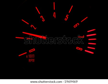 Rev counter in a car - stock photo