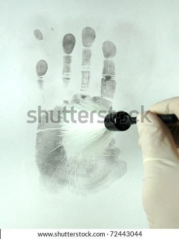 revealing the fingerprints with special brush - stock photo