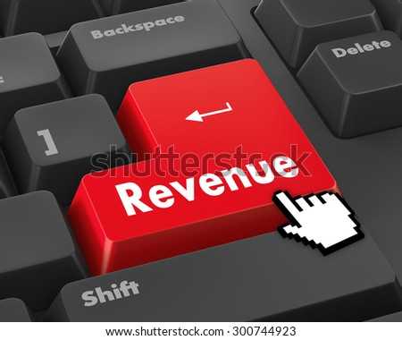 Revenue button on computer keyboard keys - stock photo