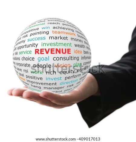 Revenue concept. Hand take white sphere with big red inscription Revenue . - stock photo